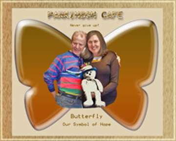 Brad and Lynn with butterfly image created by Linda Lee